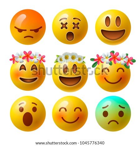 Realistic yellow emoticons with flower on head, background with group of smiley emoji, vector. Stock photo © ikopylov
