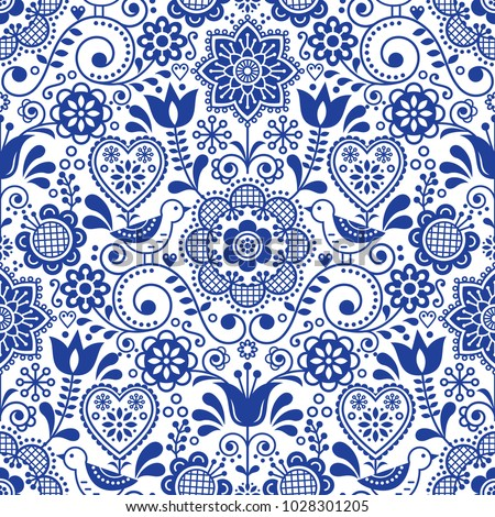 Folk art seamless vector pattern with flowers, navy blue floral repetitive design - Scandinavian sty Stock photo © RedKoala
