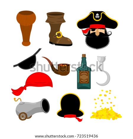 Pirate Hook and cannon. Eye patch and smoking pipe. filibuster c Stock photo © popaukropa