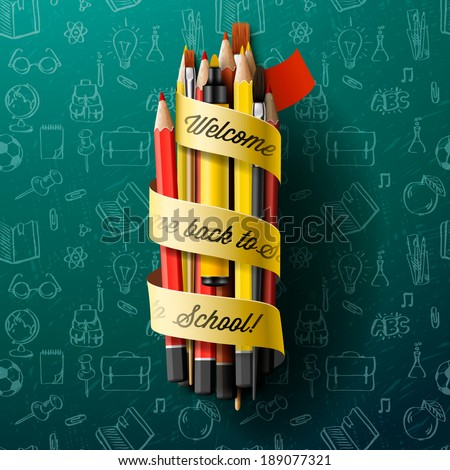 Renkli kalem boya kalemleri metin okula geri şerit Stok fotoğraf © ikopylov