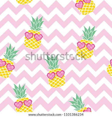 Pineapple Fruit With Green Leafs Cartoon Drawing Simple Design With Sunglasses Stock photo © hittoon