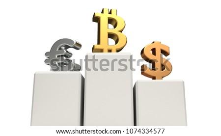 доллара bitcoin евро подиум золото серебро Сток-фото © Wetzkaz