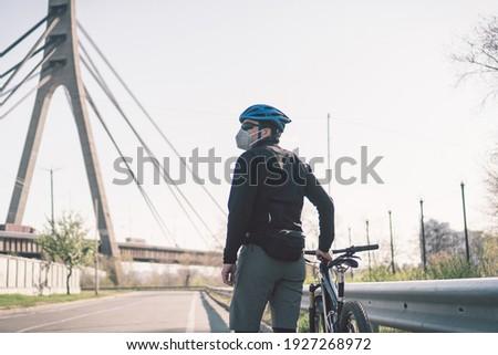 Man masker stof industriële stad vent Stockfoto © MaryValery