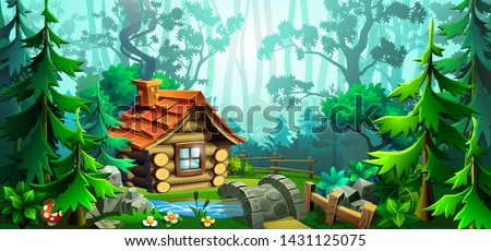 summer adventure landscape with wooden house in forest outdoor scene adventures in nature with tre stock photo © jeksongraphics