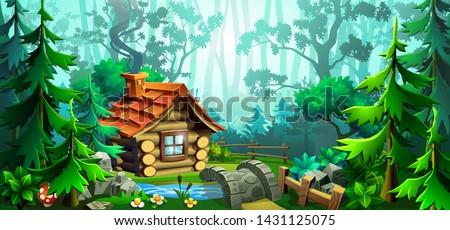 Sommer Abenteuer Landschaft Holz Haus Wald Stock foto © JeksonGraphics
