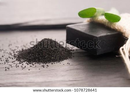 自然 · カーボン · 石鹸 · アロエ · 黒 · 暗い - ストックフォト © joannawnuk