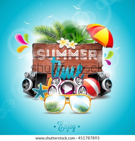 vector summer time holiday typographic illustration with toucan bird on vintage wood background tro stock photo © articular
