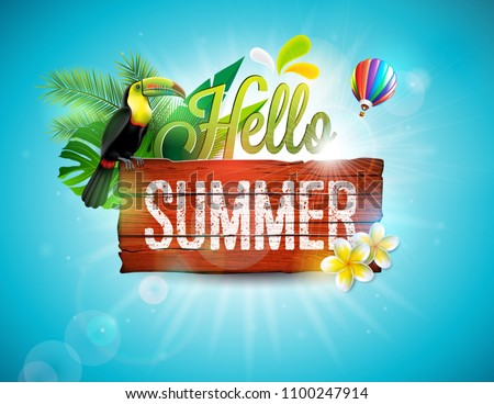 vector summer holiday typographic illustration with toucan bird acoustic guitar and flower on tropi stock photo © articular