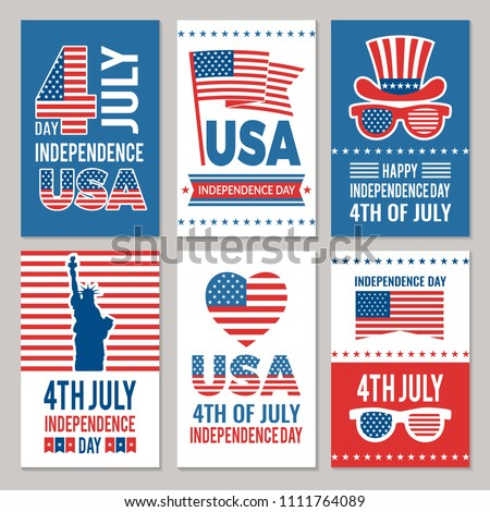 Independence Day of the USA Party Flyer Illustration with Falling Colorful Star. Vector Fourth of Ju Stock photo © articular