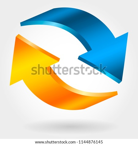 Counter blue and orange arrows. Photorealistic 3d illustration. Exchange and recovery symbol. Stock photo © ESSL