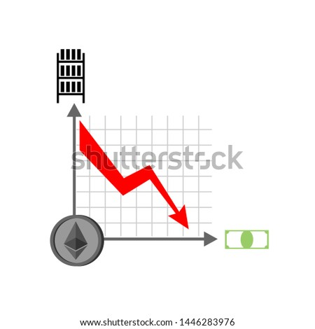 Falling etherium graph. Decrease in Cryptocurrency. Virtual mone Stock photo © popaukropa