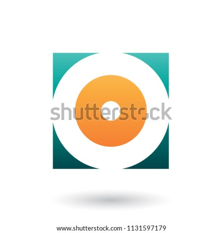 Green and Orange Square Icon of a Thick Letter O Vector Illustra Stock photo © cidepix