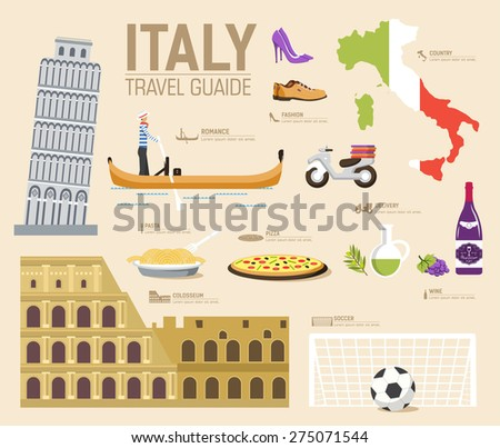 Stock photo: Country Italy travel vacation guide of goods, place and feature. Set of architecture, fashion, peopl