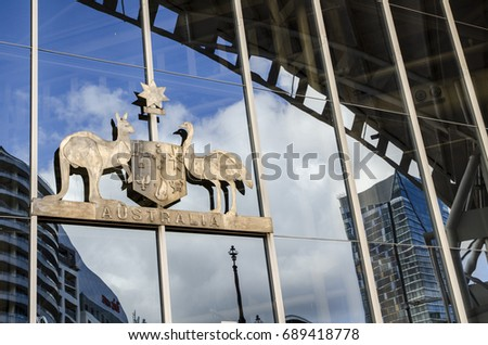Kangaroo Shield heraldic symbol. Australia coat of arms. Austral Stock photo © MaryValery