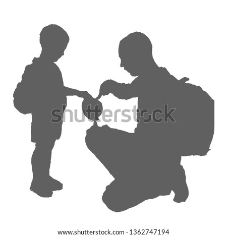 Father And Son Looking At The Globe Vector. Isolated Illustration Stock photo © pikepicture