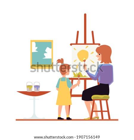 Mãe filha pintura cavalete vetor isolado Foto stock © pikepicture