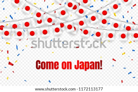 Japan garland flag with confetti on transparent background, Hang bunting for celebration template ba Stock photo © olehsvetiukha