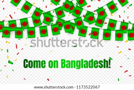 Bangladesh garland flag with confetti on transparent background, Hang bunting for celebration templa Stock photo © olehsvetiukha