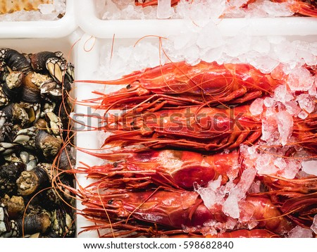 Fresh seafood on Fish Market in Madrid, Spain Stock photo © boggy