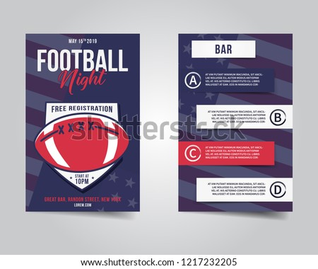 american football flyer sports party night layout brochure modern professional poster rugby game stock photo © jeksongraphics