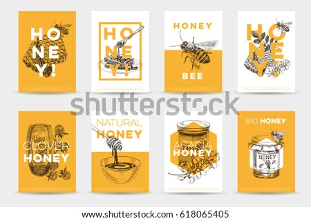 Vintage Poster with Bees in Beehive and Organic Honey Inscriptio Stock photo © lissantee