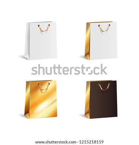 Black Friday Sale. Realistic black Paper shopping bag with handles isolated on white background. Vec Stock photo © olehsvetiukha