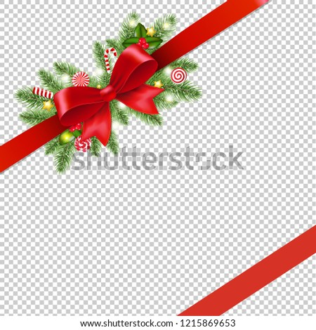 Red Ribbon With Holly Berry And Firtree Border Transparent Backg Stock photo © barbaliss
