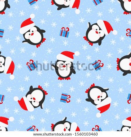 Рождества Cute мало пингвин Cap подарок Сток-фото © ori-artiste