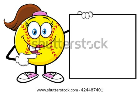 Cute Softball Girl Cartoon Mascot Character Pointing To A Blank Sign Stock photo © hittoon