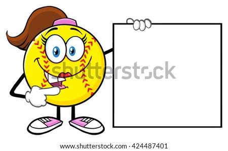 sevimli · beysbole · benzer · top · oyunu · kız · karikatür · maskot · karakter - stok fotoğraf © hittoon