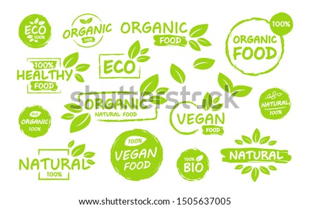 Bio Product, eco 100 percent organic leaf emblem, sticker or logo. Vector illustration isolated on w stock photo © kyryloff