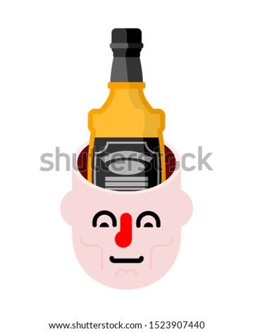 Otwarte głowie butelki whisky alkoholu człowiek Zdjęcia stock © MaryValery