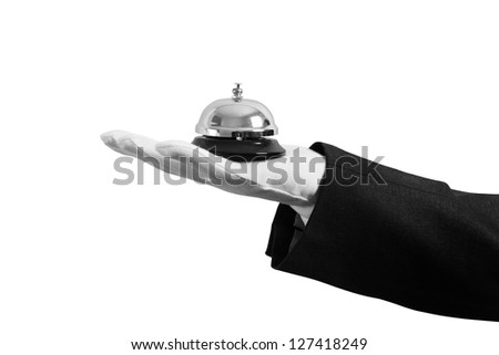 Waiter with bell in hand. Concept of first class service in your business Stock photo © alphaspirit