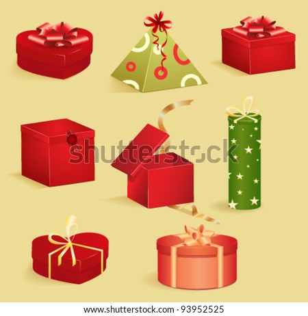 round gift boxes with glossy ribbons   set 3 vector illustration stock photo © cidepix