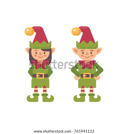 two cute christmas elves male and female santa claus elf flat stock photo © ivandubovik