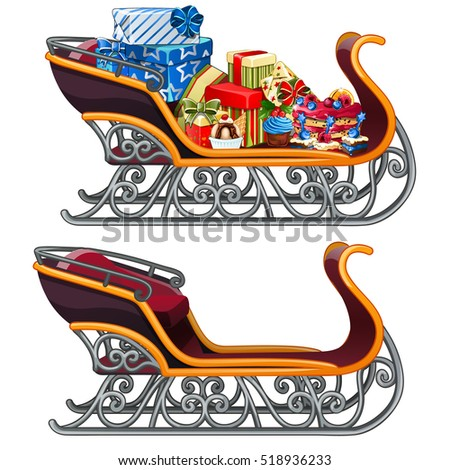 iron sleigh with festive gift boxes isolated on white background isolated on gray background vector stock photo © lady-luck