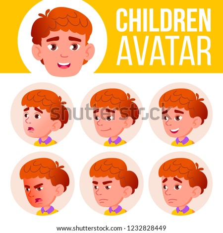Boy Avatar Set Kid Vector. Primary School. Face Emotions. Red Head, Icon. Small, Junior. Casual, Fri Stock photo © pikepicture