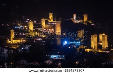 Nuit vue ville médiévale éclairage Photo stock © Kotenko