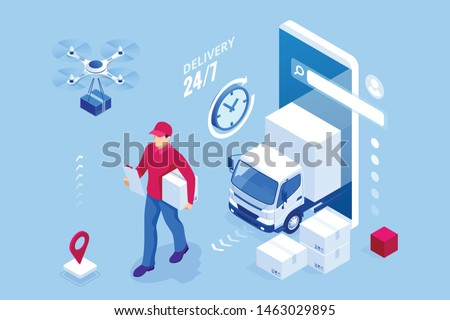 Delivery Service Icons Vector. Drone, Cardboard Boxes, Online Support. Consultant. Isolated Flat Car Stock photo © pikepicture