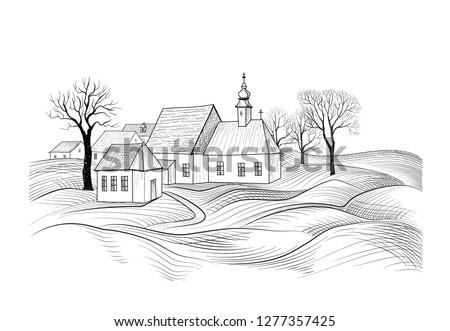 Rajz ház építészet vidék oldal sziluett Stock fotó © Terriana