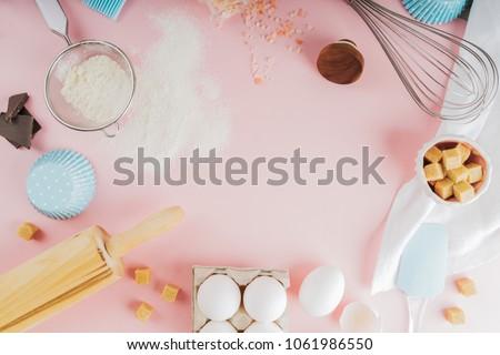 ingrediënten · tools · cookies · harten · meel - stockfoto © YuliyaGontar
