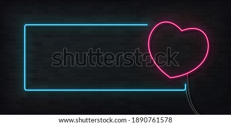 Realistic neon lamp in shape of heart, decoration on bricks wall Stock photo © MarySan