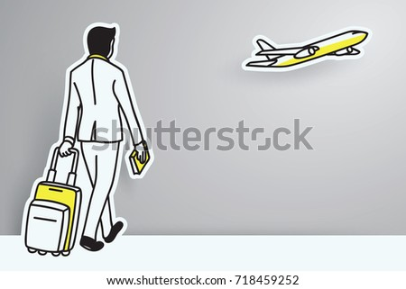 Business traveler walking with suitcase hand drawn outline doodle icon. Stock photo © RAStudio