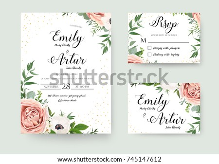 wedding floral watercolor style invite invitation save the date card design with forest greenery h stock photo © bonnie_cocos