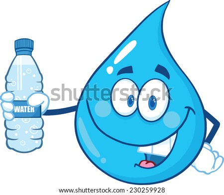 Happy Blue Water Drop Cartoon Character Holding A Bottled Water Stock photo © hittoon