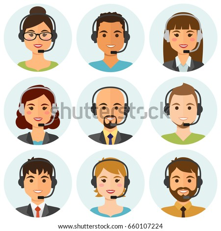 female call center operator with headset icon web design communi stock photo © nikodzhi