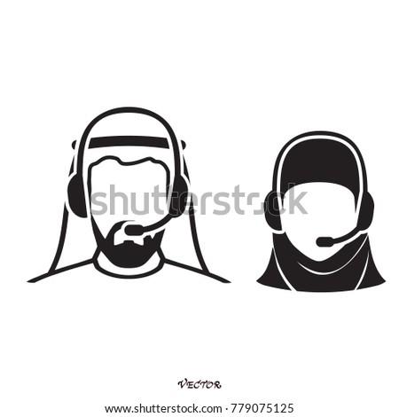 арабских Call Center оператор гарнитура икона веб-дизайна Сток-фото © NikoDzhi