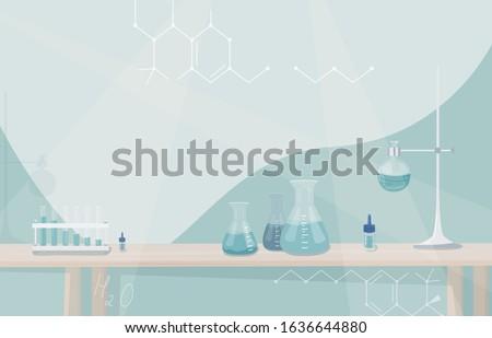 Kimyasal laboratuvar karikatür mavi sıvı vektör Stok fotoğraf © doomko