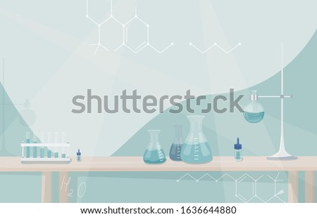 Chemical laboratory cartoon with blue liquid. Vector illustratio stock photo © doomko