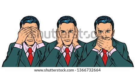 Not see say look concept man businessman isolate on white background Stock photo © studiostoks